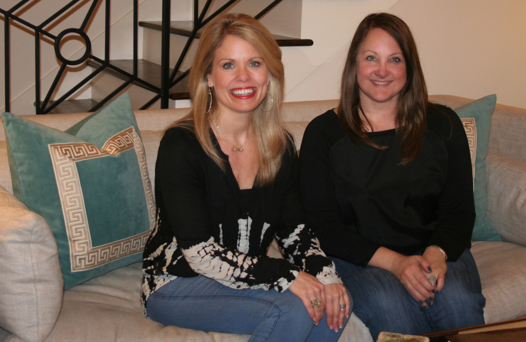 Homeowner Tricia Uptown Sits on the Sofa with Interior Designer Maria Barcelona
