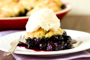Blueberry Cobbler with Vanilla Ice Cream. photo by Southern Hill Farms.